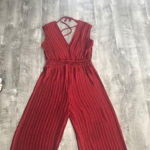 Women's Medium Red Wideleg Jumpsuit